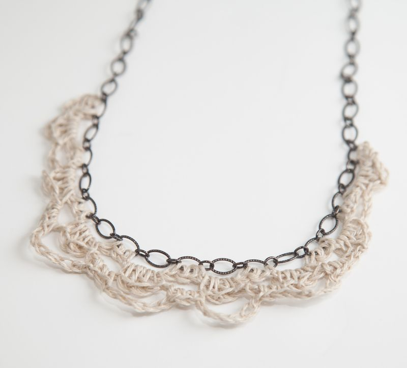 Crochet and Chain Necklace-121