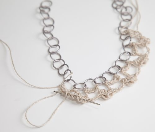 Crochet and Chain Necklace-123